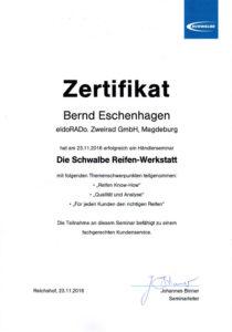 B.E. Schwalbe Händlerseminar 2016
