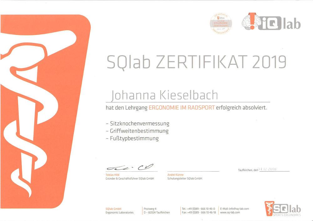 J.K. SQlab Zertifikat 2019