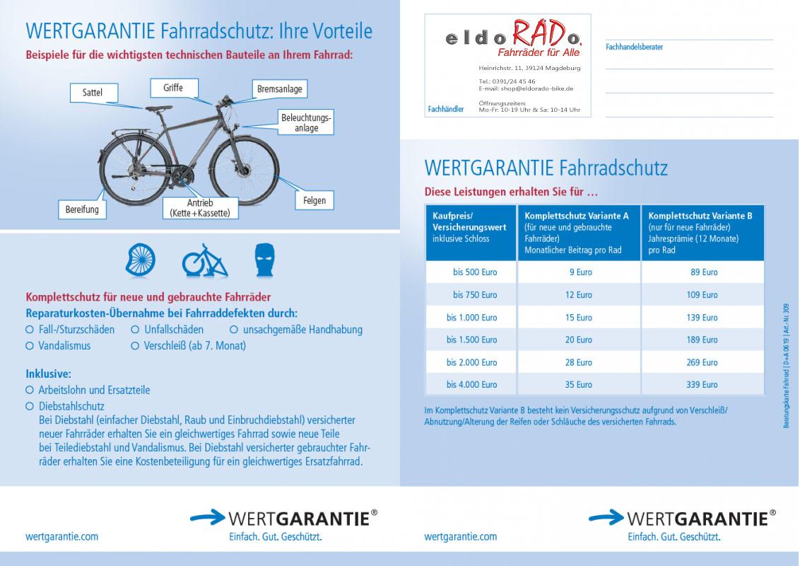 Wertgarantie Beitragsuebersicht Fahrrad